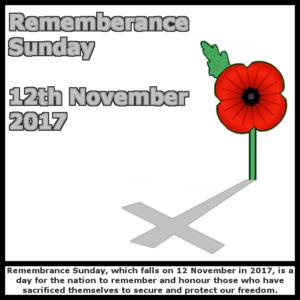 Rememberance Sunday - 12th November 2017